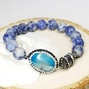 New Cat Eye Stone Blue Agate Bracelet